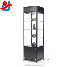 "78"" Tall Black Curio Collections Display Tower Showcase, Lighted Antique Display Cabinet"