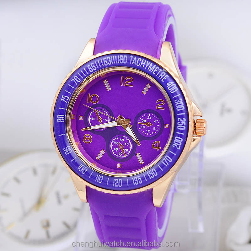Watch Classic Color Literal Silicone Band Set Fashion Female Models Diamond Watches