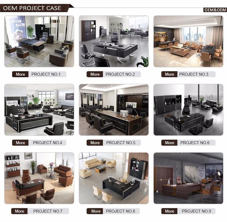 Luxury modern design L-shape office desks leather wooden boss ...