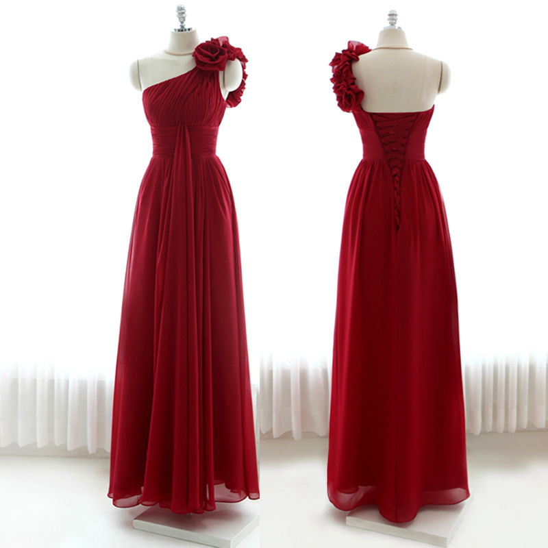 7c130d5d6f43d Get Quotations · Burgundy Prom Dresses 2015 Flower Chiffon One-Shoulder Long  Prom Dress Bandage Wine Red Long