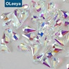 Factory wholesale price various K9 clear bottom pear shape nail art gem stone for nail jewelry