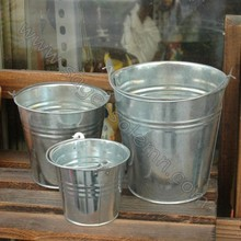 Decorative Silver Galvanized Metal Buckets/Pails With Handles