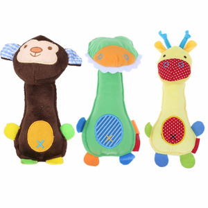 New Dog Toys Pet Puppy Chew Squeaker Squeaky Plush Sound Cartoon Frog/Giraffe/Monkey