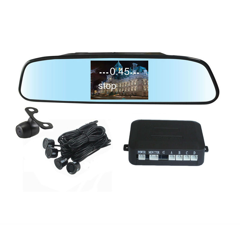 universal rear view mirror backup camera 4.3inch with rear view sensors display distance on screen alarm by buzzer