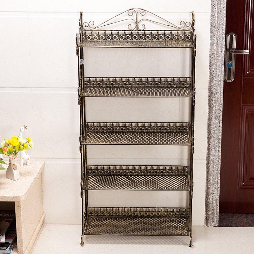 Simple shoe rack european style,metal shoe rack pastoral iron shoe rack dust-proof multi-layer storage shoe cabinet five-story shoe rack-B