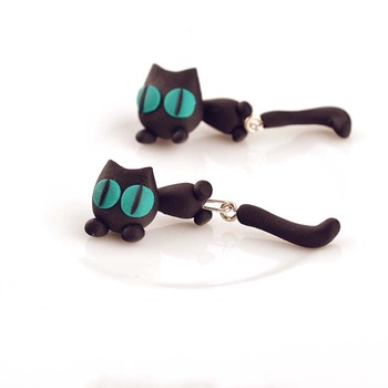 AP38094 Fashion 3D Clay Earrings Jewellery Handmade Polymer Clay Green Eyes Cat Stud Earrings