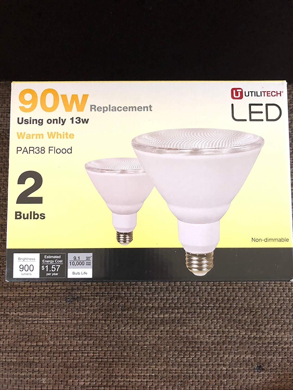 Utilitech 777500 2-Pack 13-Watt (90W Equivalent) PAR38 Medium Base Warm White Dimmable Outdoor LED Flood Light Bulbs