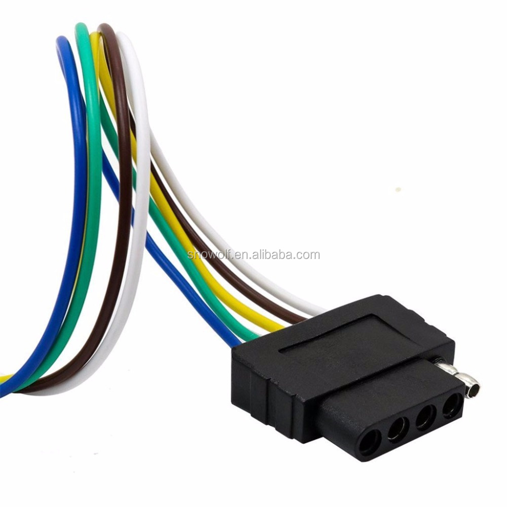 Usa Style 5 Way 5pin Flat Trailer Wire Harness Extension Connector Socket Us Plug: Trailer Wire Harness Flat 5 Pin At Satuska.co