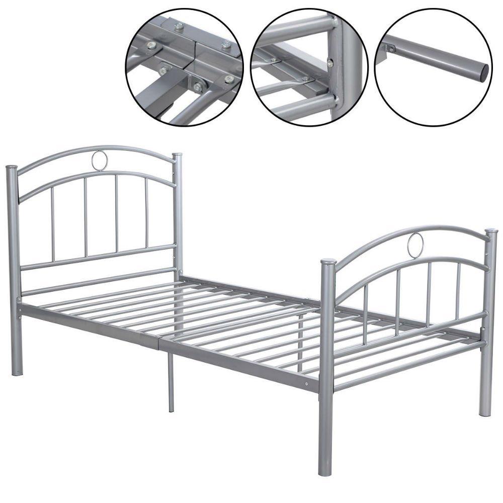 """83""""x42""""x35"""" Sliver Metal Bed Frame Platform Twin Size Bedroom Home Furniture New"""