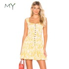 Square neck yellow and white dresses fit and flare sleeveless button mini dress