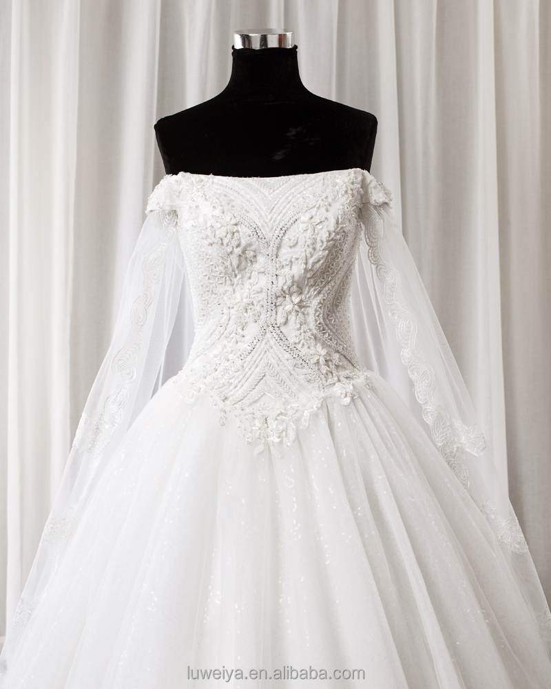 Designer Cinderella Off Shoulder Ball Gown Bridal Wedding Dress With ...