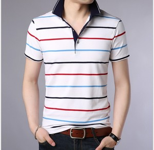 Men Polo Shirt 2018 Summer Men Business Casual Breathable White Striped Short Sleeve Polo Shirt Pure Cotton Work Clothes Polos