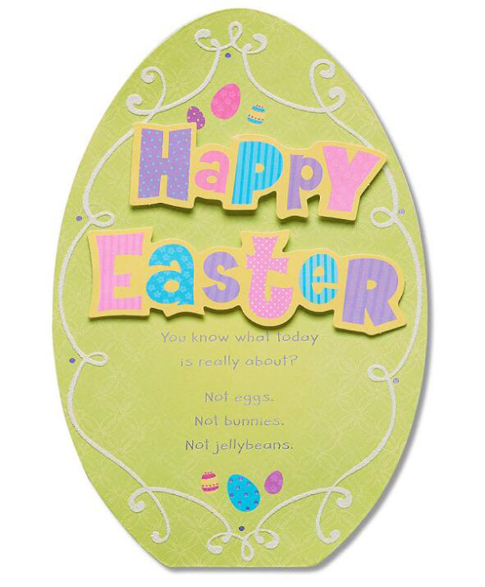 Easter egg shape paper greeting card/blessing card/holiday invitation card for best wishes with your own design