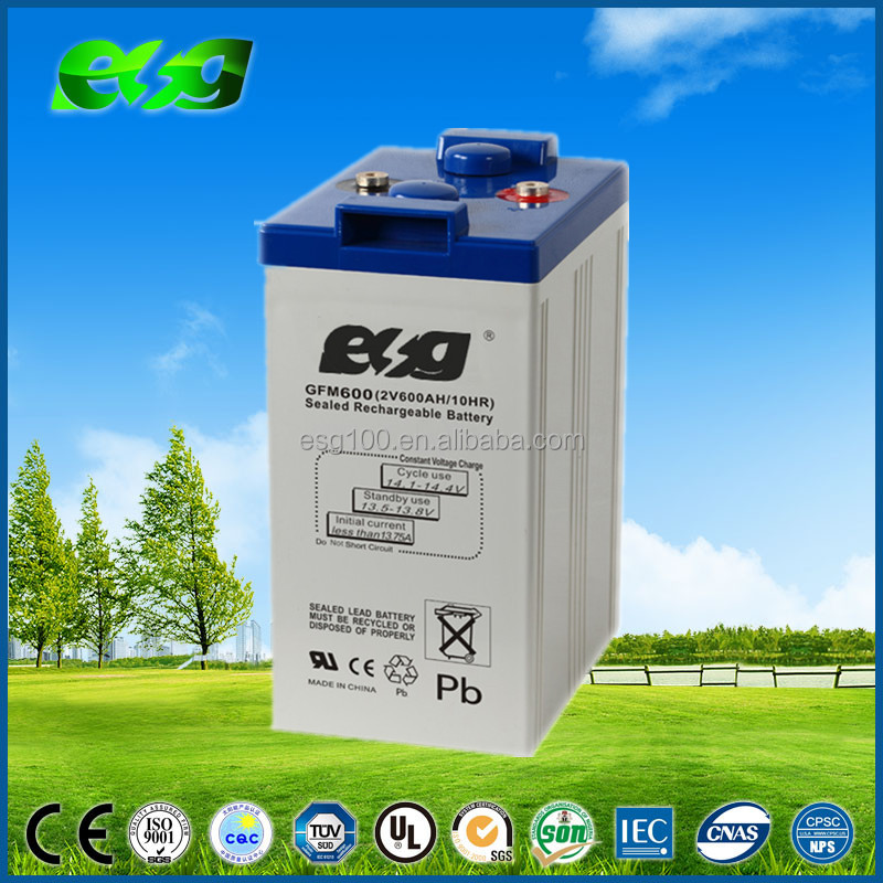 high quality long life deep cycle battery 2V600AH sla seal lead acid gel battery