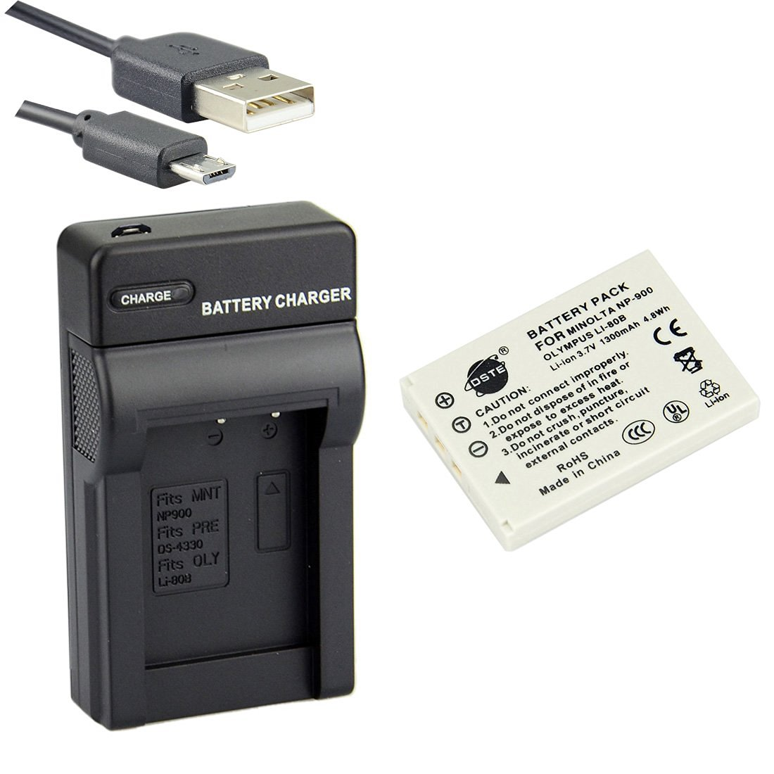 DSTE Li-80B Li-ion Battery and Micro USB Charger Suit for Olympus T-100,T-110,X-36