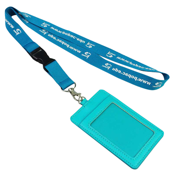 custom personalized leather id card holder with lanyard