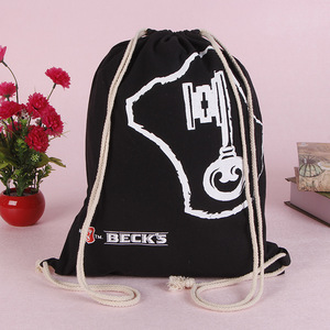 Custom wholesale printed black canvas duffle cloth drawstring bag with cord
