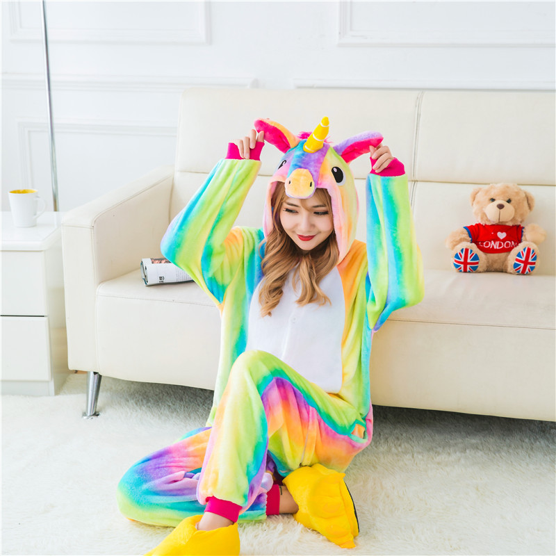 Gros Kartoon Flanelle Unisexe Adulte Arc-En-Licorne Nuit Animale Onesie Cosplay Halloween Costume Pyjamas Ensembles