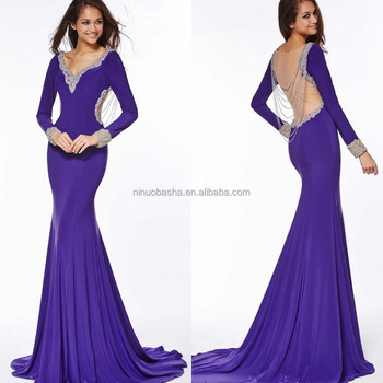 2015 Stunning Sheer Back Jersey Gown With Hanging Beads V-neck Long ...