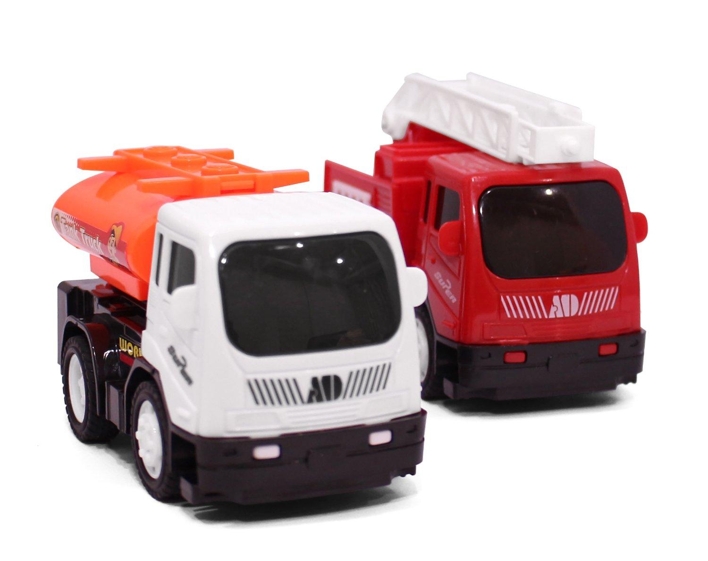 Toy4U® 1:64 Inertia Construction Toy Truck Set, Fire Truck, Tank Truck