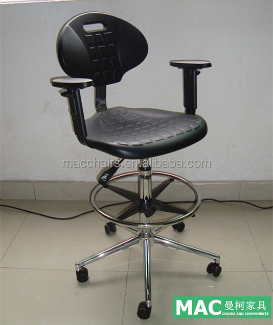 ESD Anti static Laboratory Chair With Chromed Footring And Adjustable Armrest MAC 5001-4
