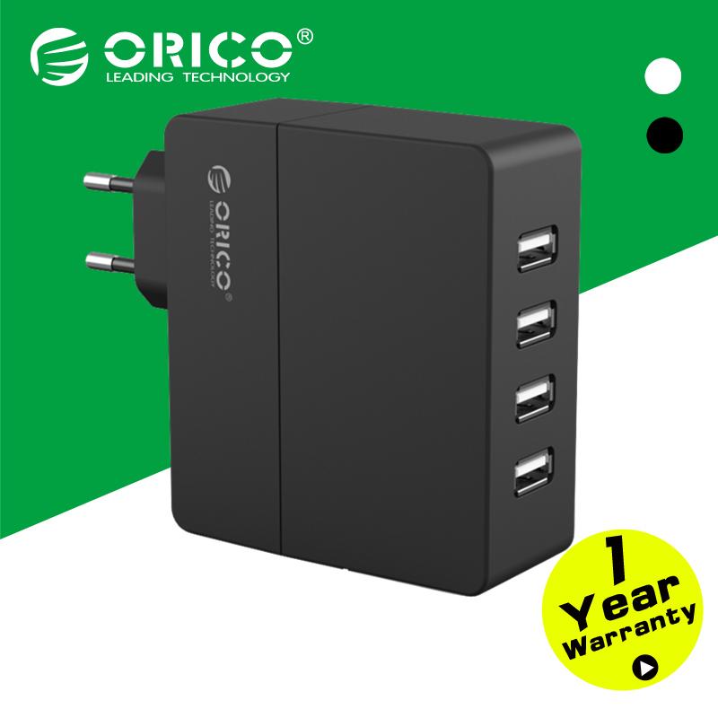 ORICO DCA-4U-EU-BK 4-port Wall USB Phone Charger 5V1A*2/5V2A*2 with Europe Plug-Black