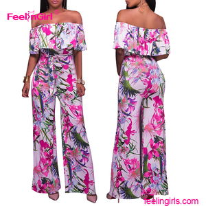 Plus Size Fashion Women Long Off Shoulder Jumpsuit Elegant