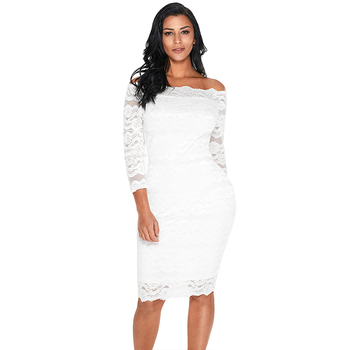 White Lace Off Shoulder Midi Mesh Vintage Party Prom Lady Dress Sexy Women Casual Dress