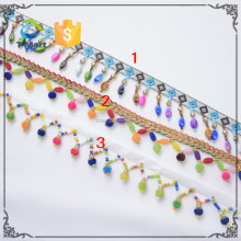 craft pom poms wholesale 2.5cm Brow Multicolor Fringe Tassel Trim