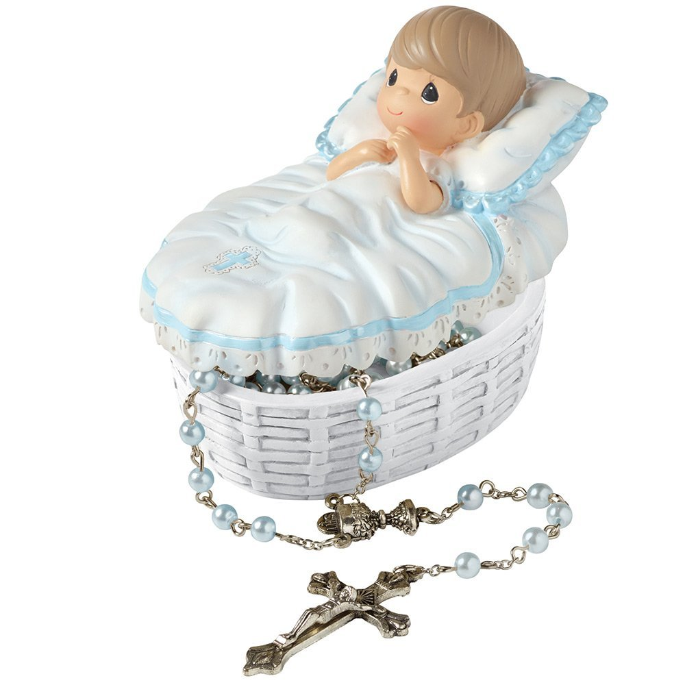"""Precious Moments, Baptism Gift, """"Baptized In His Name"""" Resin Box With Rosary, For Boy, #153407"""