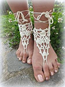 Ivory Beach Wedding Sandals,Wedding Accessory,Sexy Beach Sandals, Crochet Barefoot Sandals, Barefoot Sandals , Crochet Anklet, Sexy Lace Sandals,Wedding Footwear, Bridesmaid Sandals (Ivory-04)