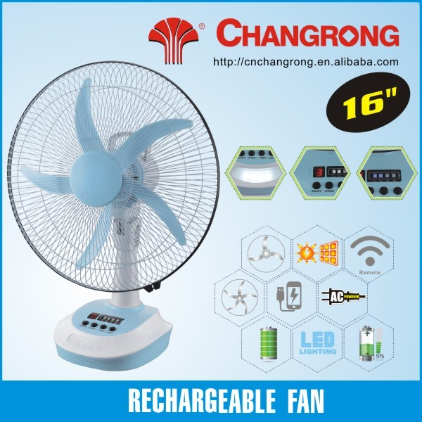 Solar recharge table fan portable electric ac table fan with led light