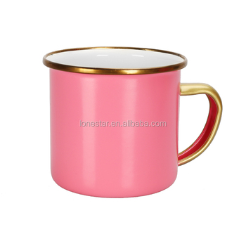 custom pink color cast iron metal printed 8cm enamel camping mug with gold rim