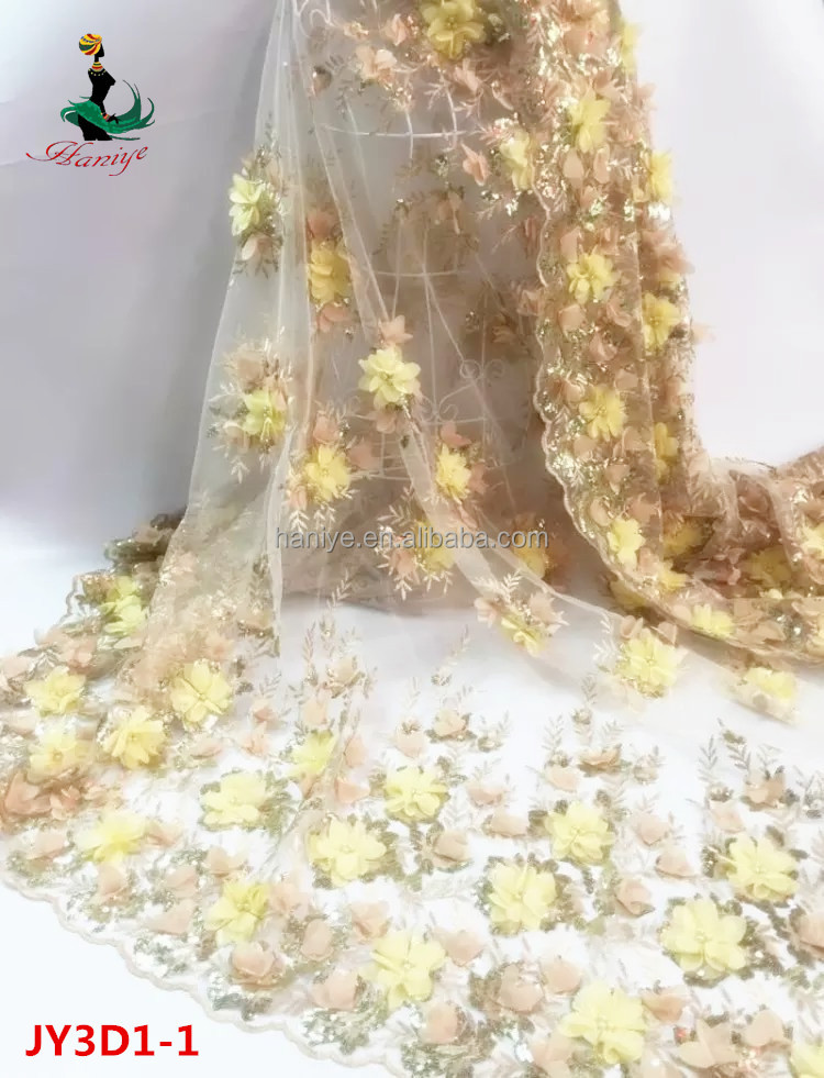 2016 Haniye High quality JY3D1-1 embroidery 3D floral lace fabric/african tulle lace fabric french lace with stones and beads