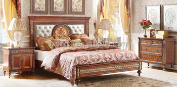 Great British Classic Style Bedroom Set, Antique Carved Wooden Queen Anne  Bed With Night Stand