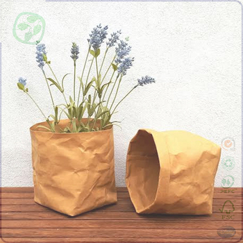 Washable Paper Kraft Plant Paper Bag Water Resistant, Home Kraft Storage Bag