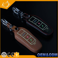 Glowing Genuine Auto Key Cover Leather Accessories Remote Smart Key Shell Holder Fob Case For Porsche