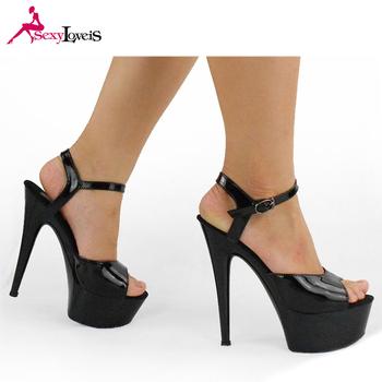 Black Super High Heel Shoes Buckle Stiletto High Sandals Import