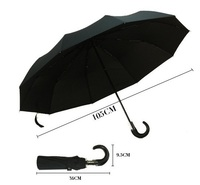 PU Handle 3fold Umbrella Black Compact Men's Umbrella
