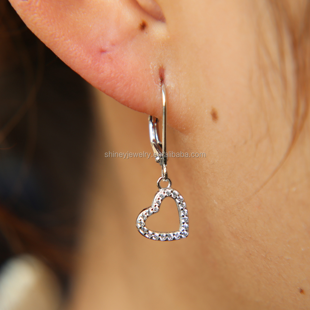 9eaa2c208 925 sterling silver jewelry wholesale factory china manufacture pave cz  heart charm valentines gift earring