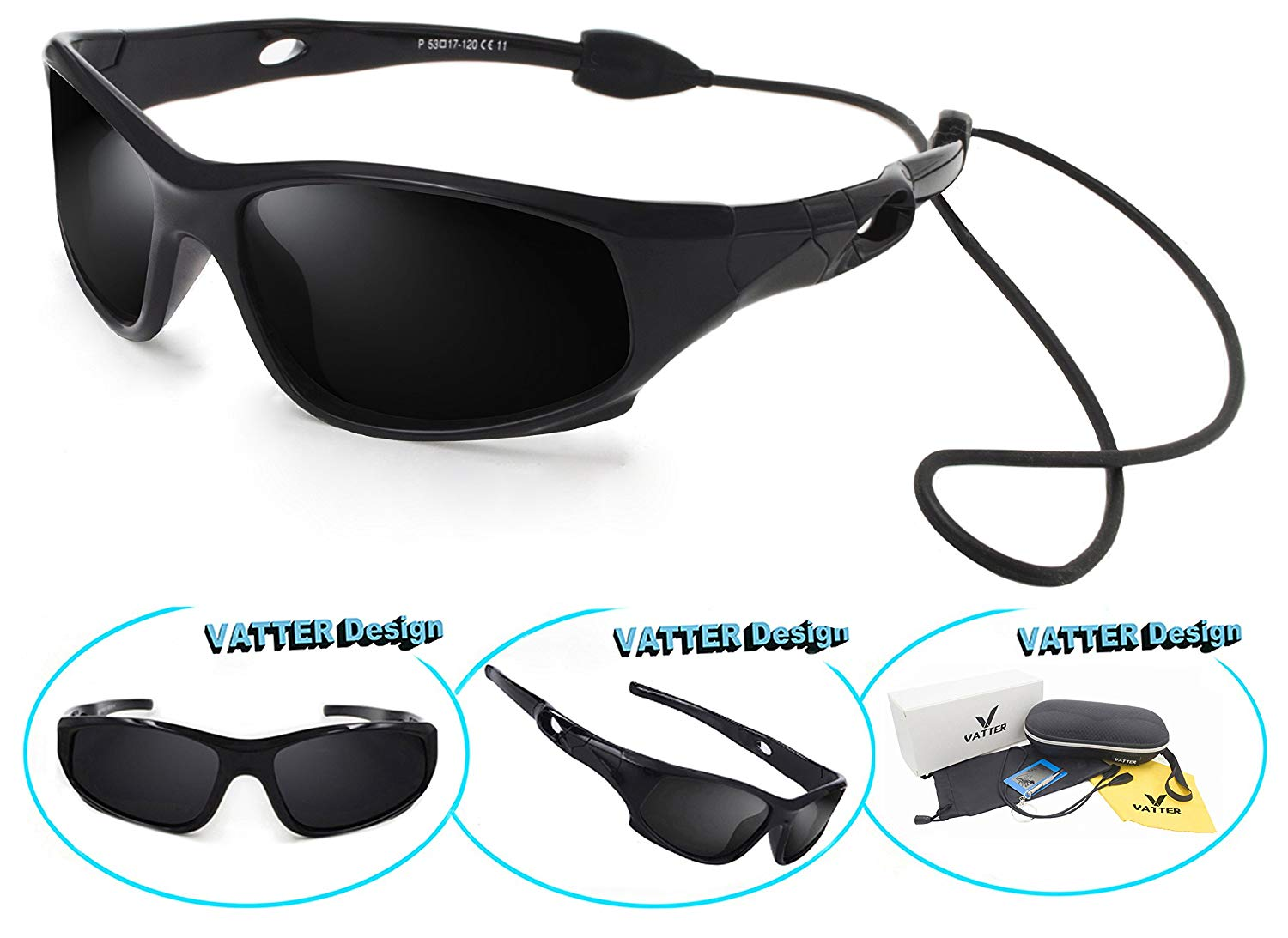 2c94b108f694 Get Quotations · VATTER TR90 Unbreakable Polarized Sport Sunglasses For Kids  Boys Girls Youth