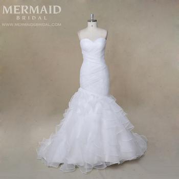 Luxury Pleat Layered Organza Mermaid Wedding Dress Patterns With ...