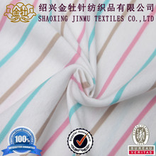 100 cotton rainbow red white stripe knit fabric