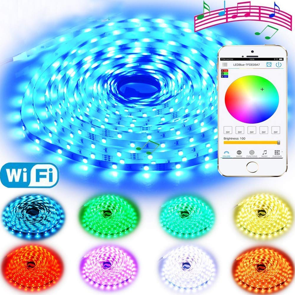 H+K+L Indoor Use LED Strip Lights Double Layer Copper Circuit Board and Copper LED frame5M 16.4ft RGB WiFi Wireless Control 12V 150LEDs 5050 (White)