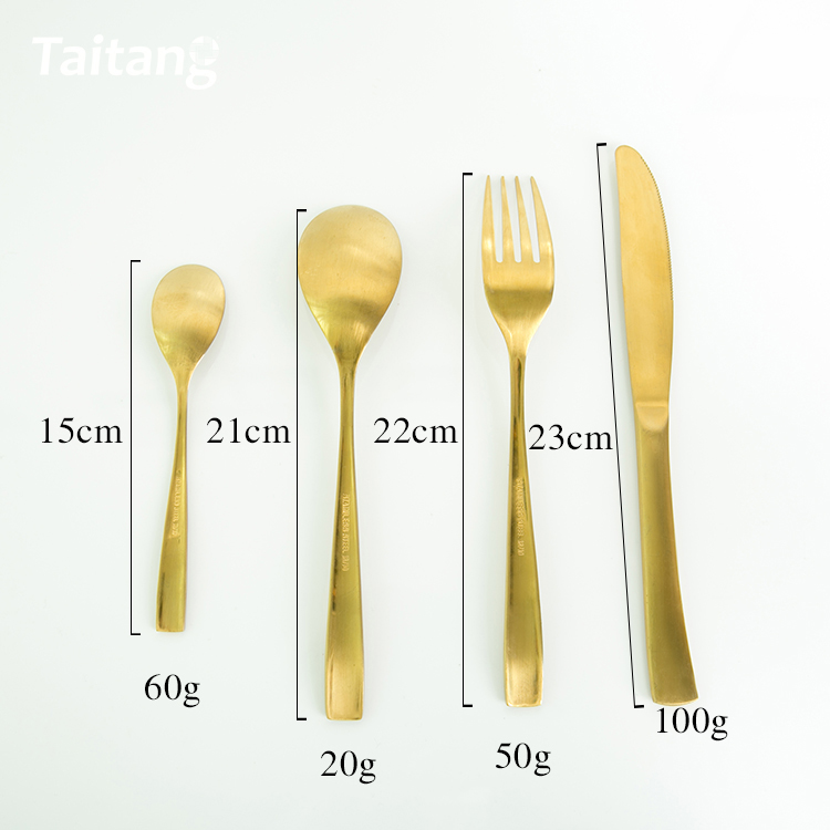 4pcs spoons forks knives stainless steel gold wedding cutlery