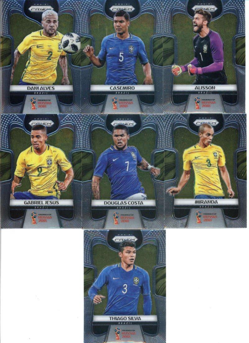 2018 Panini Prizm World Cup Soccer Brazil Team Set of 13 Cards: Neymar Jr(#25), Willian(#26), Thiago Silva(#27), Philippe Coutinho(#28), Paulinho(#29), Marquinhos(#30), Marcelo(#31), Gabriel Jesus(#32), Douglas Costa(#33), Miranda(#34), Dani Alves(#35), Casemiro(#36), Alisson(#37)