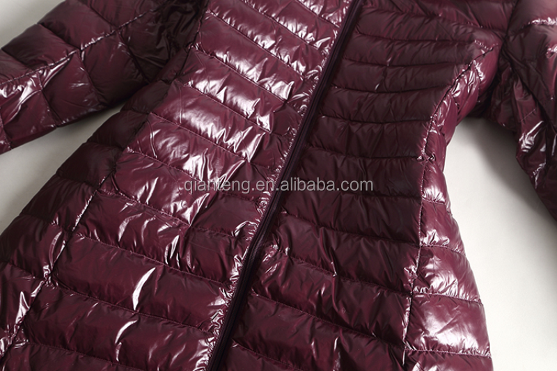 Ankle Length Shiny Nylon Long Down Feather Coats - Buy Down Coat ...