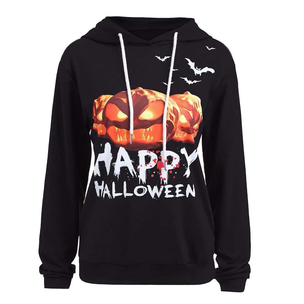 POTO Halloween Sweatshirt,Women Pumpkin Print Hoodie Sweatshirts Jumper Hooded Pullover Tops Blouse Shirt