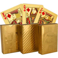 Durable Waterproof Plastic Playing Cards Gold Foil Poker Golden Poker 24K Gold Foil Plated Playing Cards Deck Gift