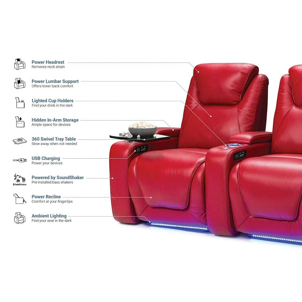 JKY Furniture Adjustable Power Electric Theater Sofa in Factory Custom for Home Cinema
